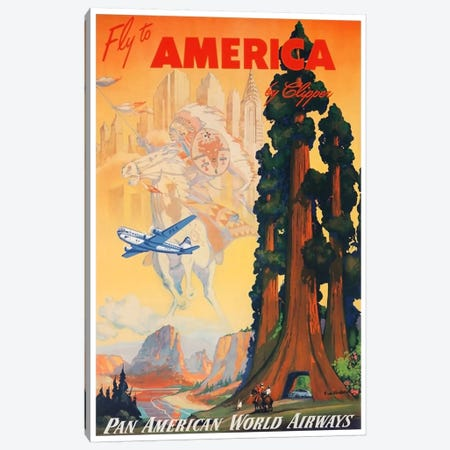 Fly To America By Clipper Via Pan American Canvas Print #LIV99} by Unknown Artist Canvas Print