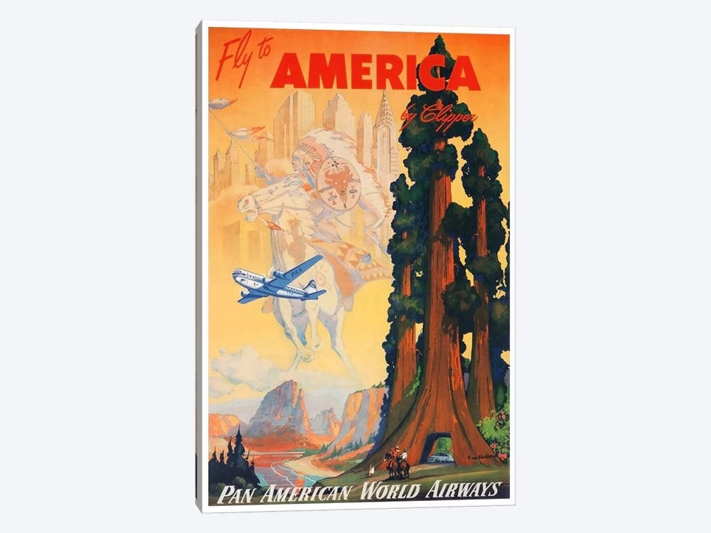 Fly To America By Clipper Via Pan American 1-piece Canvas Wall Art
