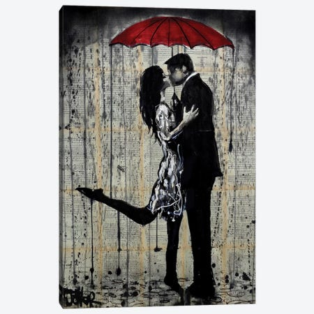 Rainy Hearts Canvas Print #LJR104} by Loui Jover Canvas Print
