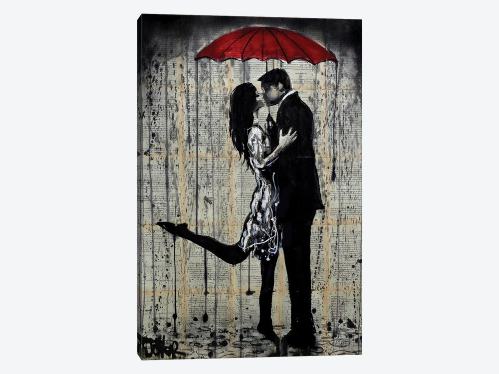 Rainy Hearts by Loui Jover 1-piece Canvas Wall Art