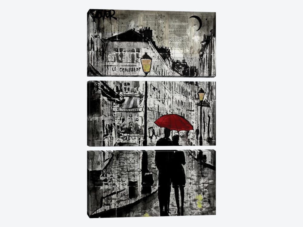 Rainy Promenade by Loui Jover 3-piece Canvas Print