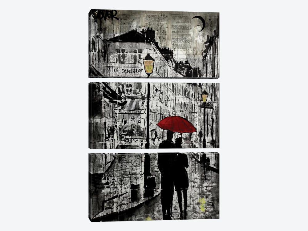 Rainy Promenade by Loui Jover 3-piece Canvas Print
