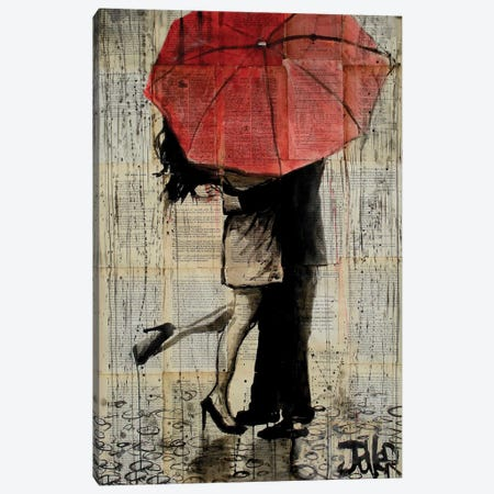 Red Umbrella Canvas Print #LJR180} by Loui Jover Canvas Wall Art