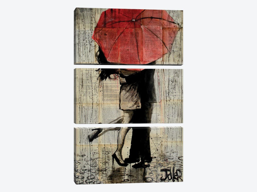 Red Umbrella by Loui Jover 3-piece Canvas Wall Art