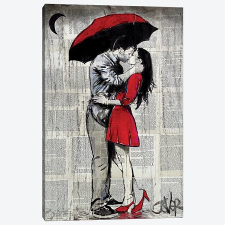 Red Rainy Love Canvas Print #LJR249} by Loui Jover Canvas Art Print