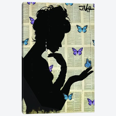 Blue Butterflight 3-Piece Canvas #LJR317} by Loui Jover Canvas Art
