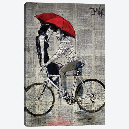 Rainy Day Love Cycle Canvas Print #LJR339} by Loui Jover Canvas Print