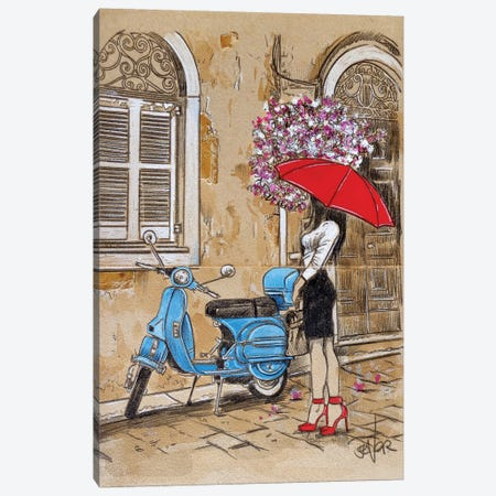 Little Blue Moped Canvas Print #LJR400} by Loui Jover Canvas Print