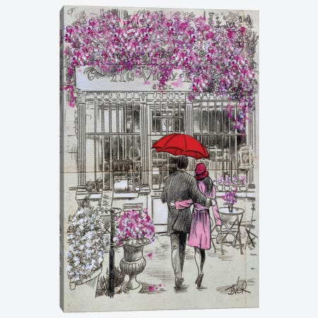 A Little Walk To The Cafe Canvas Print #LJR405} by Loui Jover Canvas Wall Art