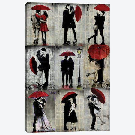 9 Red Umbrella Canvas Print #LJR474} by Loui Jover Canvas Print