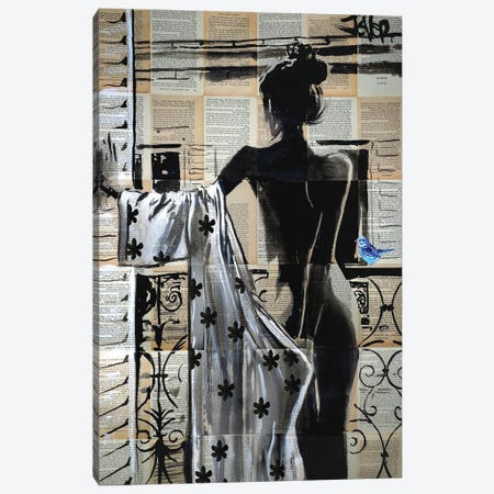 She Stood On The Balcony Canvas Print #LJR507} by Loui Jover Canvas Art Print