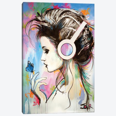 Music Butterfly Effect Canvas Print #LJR517} by Loui Jover Canvas Wall Art