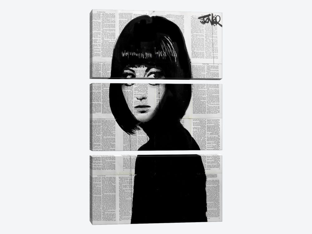 Girl In Black by Loui Jover 3-piece Canvas Art Print