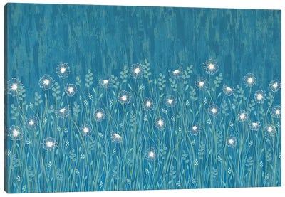 Dandelions On Blue  Canvas Art Print