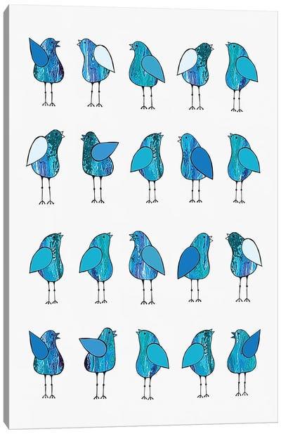 Gossip Birds Blue  Canvas Art Print