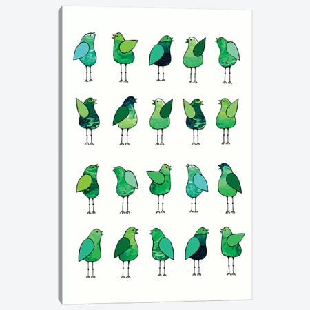 Gossip Birds Green  Canvas Print #LJU23} by Lisa Frances Judd Canvas Art Print