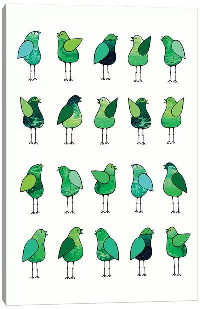 Gossip Birds Green  Canvas Art Print