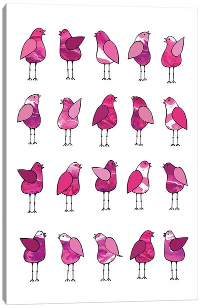 Gossip Birds Pink  Canvas Art Print