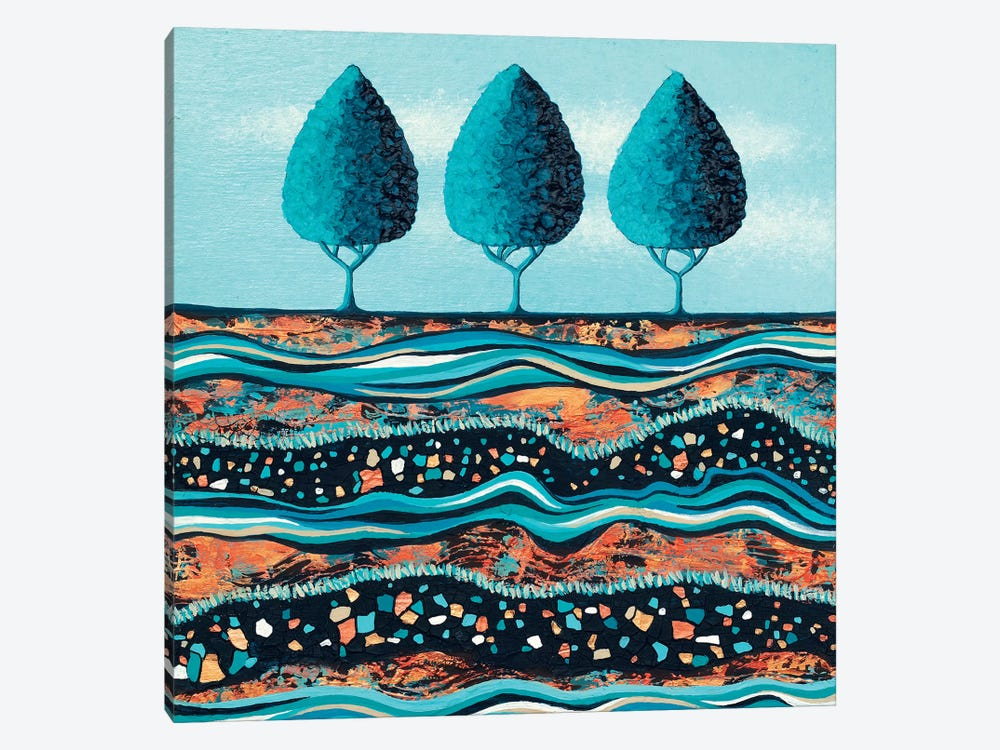 Aqua-Light Trees by Lisa Frances Judd 1-piece Canvas Art