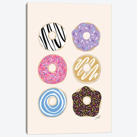 Donuts Illustration (Colorful Palette) Canvas Print #LKC101} by LindseyKayCo Canvas Wall Art