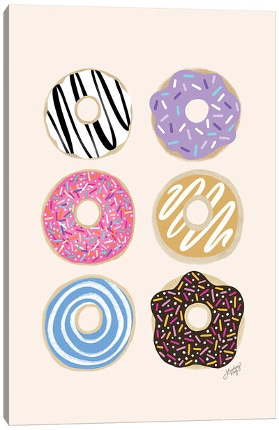 Donuts Illustration (Colorful Palette) Canvas Art Print