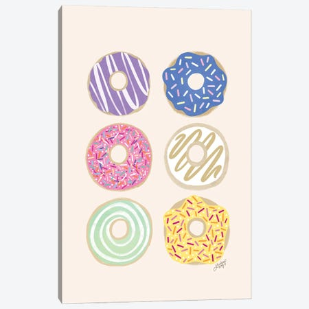 Donuts Illustration (Pastel Palette) Canvas Print #LKC102} by LindseyKayCo Canvas Artwork