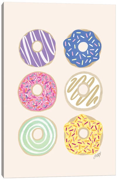 Donuts Illustration (Pastel Palette) Canvas Art Print