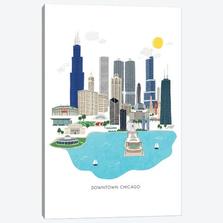 Downtown Chicago Illustration Canvas Print #LKC111} by LindseyKayCo Canvas Art Print