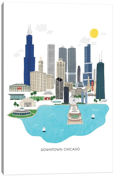 Downtown Chicago Illustration Canvas Art Print