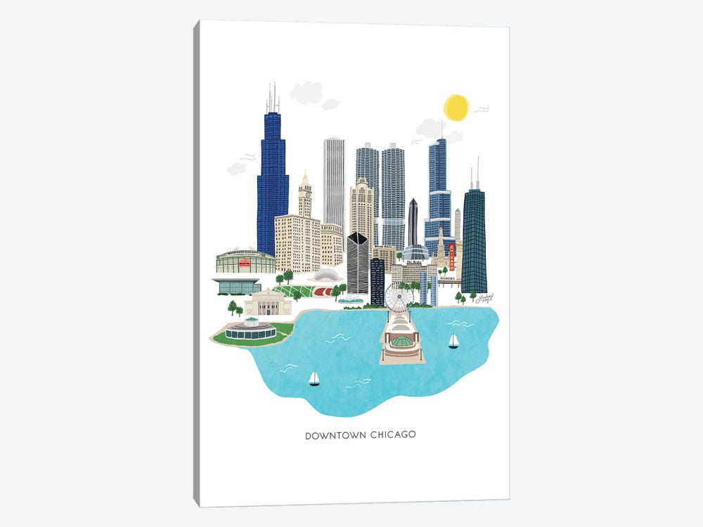 Downtown Chicago Illustration by LindseyKayCo 1-piece Art Print