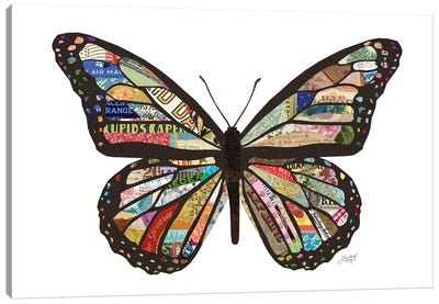 Colorful Butterfly Collage Canvas Art Print