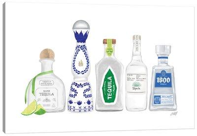 Tequila Bottles Illustration Canvas Art Print