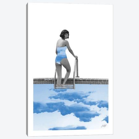 Lady In Pool Canvas Print #LKC125} by LindseyKayCo Art Print