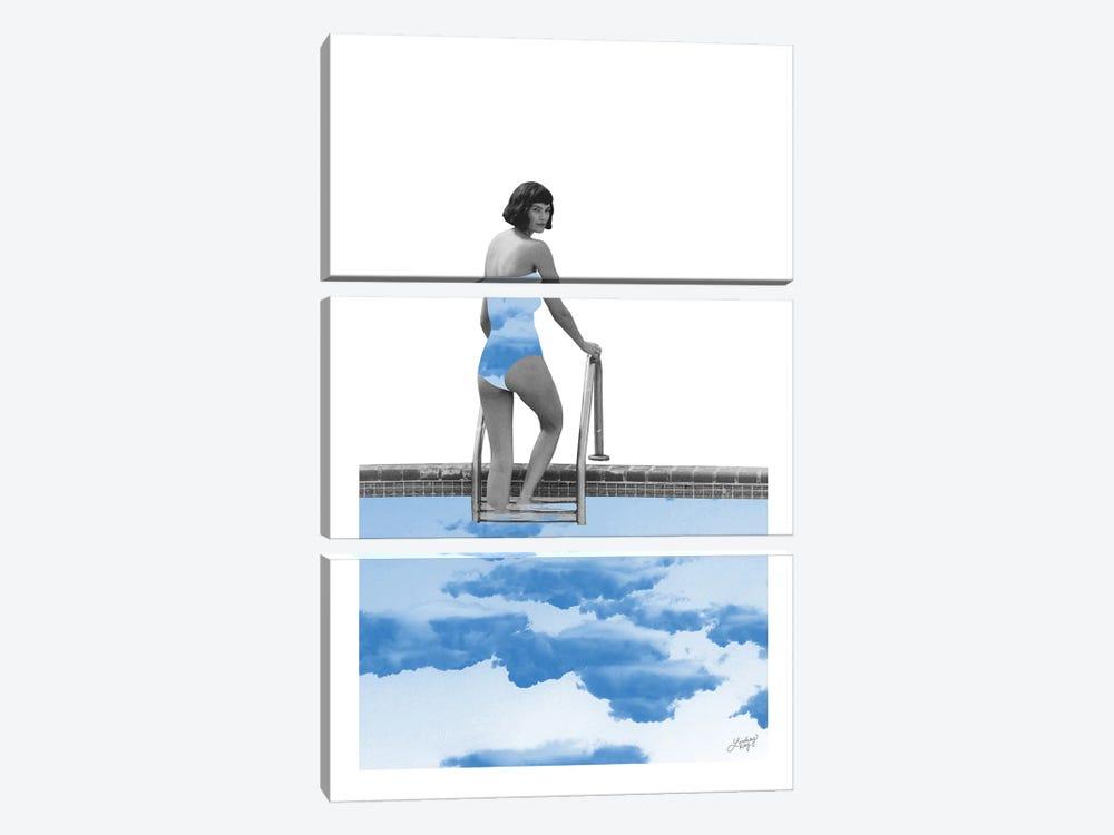 Lady In Pool by LindseyKayCo 3-piece Canvas Artwork