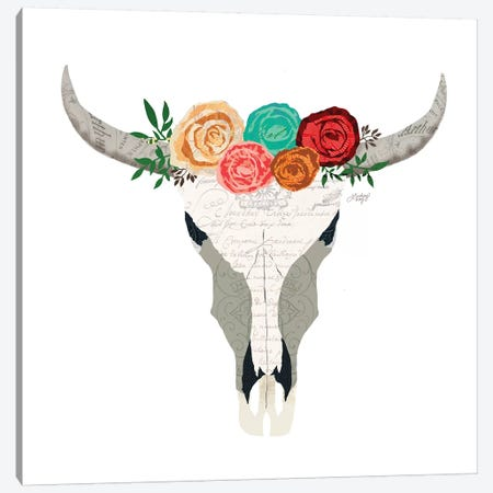 Colorful Floral Cow Skull Collage Canvas Print #LKC12} by LindseyKayCo Canvas Art Print