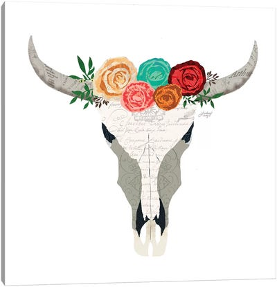 Colorful Floral Cow Skull Collage Canvas Art Print