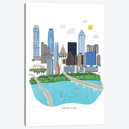Austin Cityscape Illustration Canvas Print #LKC131} by LindseyKayCo Canvas Art Print