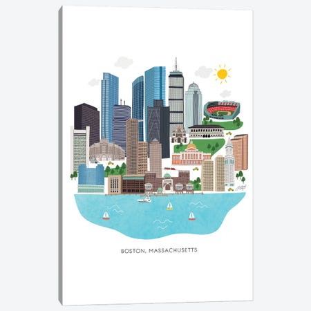 Boston Cityscape Illustration Canvas Print #LKC132} by LindseyKayCo Canvas Art Print