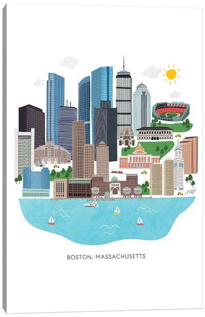 Boston Cityscape Illustration Canvas Art Print