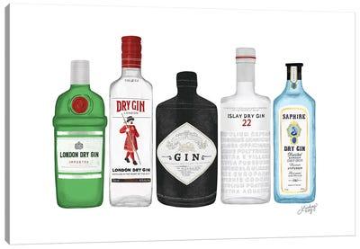 Gin Bottles Illustration Canvas Art Print
