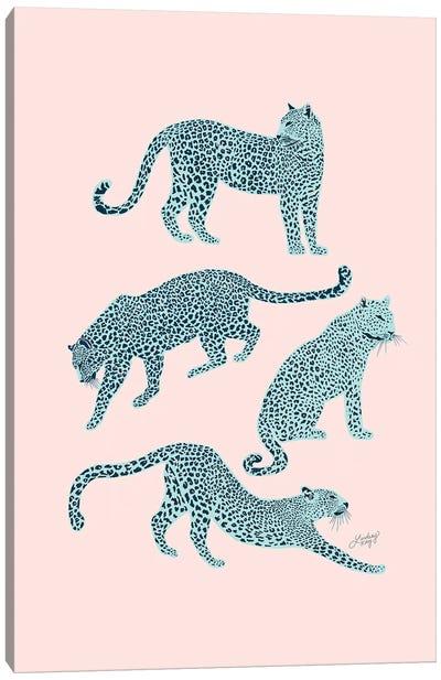 Leopards (Pink/Blue Palette) Canvas Art Print