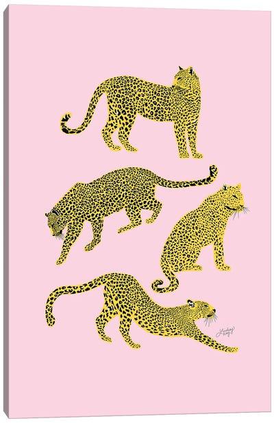 Leopards (Pink/Yellow Palette) Canvas Art Print