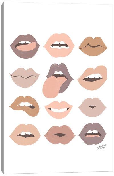 Neutral Lips Of Love Canvas Art Print