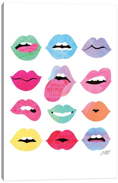 Rainbow Lips Of Love (Vertical) Canvas Art Print