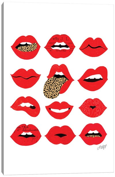 Leopard Lips Of Love (Vertical) Canvas Art Print
