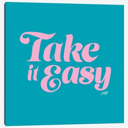 Take It Easy (Blue/Pink Palette) Canvas Print #LKC152} by LindseyKayCo Canvas Print