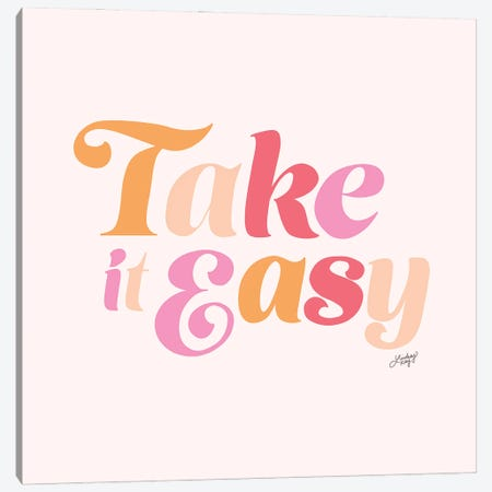 Take It Easy (Pink Palette) Canvas Print #LKC154} by LindseyKayCo Canvas Wall Art