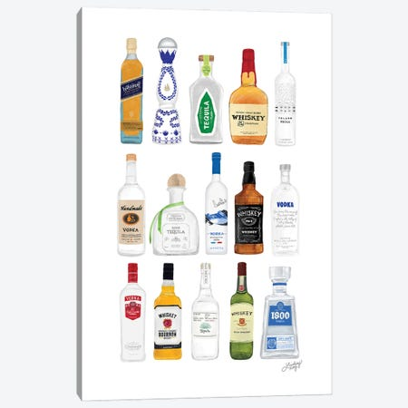 Whiskey, Tequila, Vodka Bottles Illustration Canvas Print #LKC157} by LindseyKayCo Canvas Artwork