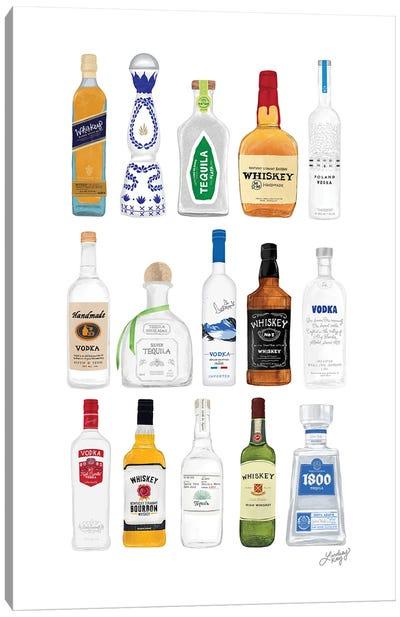 Whiskey, Tequila, Vodka Bottles Illustration Canvas Art Print