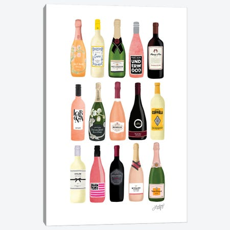 Wine And Champagne Bottles Illustration Canvas Print #LKC158} by LindseyKayCo Canvas Print
